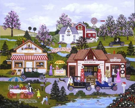 """Jane Wooster Scott Handsigned and Numbered Limited Edition Serigraph on Paper:""""A RIDE IN THE COUNTRY"""""""