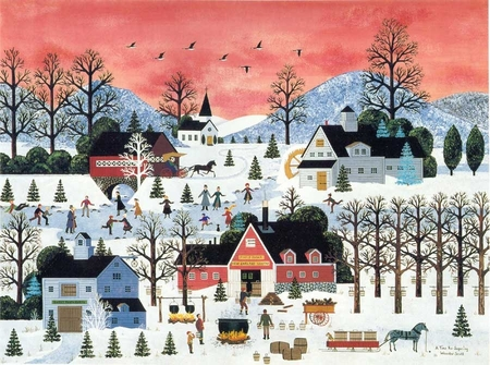 """Jane Wooster Scott Handsigned and Numbered Limited Edition Serigraph on Paper:""""A TIME FOR SUGARING"""""""