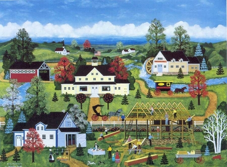 """Jane Wooster Scott Handsigned and Numbered Limited Edition Serigraph on Paper:""""GOOD NEIGHBORS"""""""