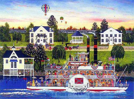 """Jane Wooster Scott Handsigned and Numbered Limited Edition Serigraph on Paper:""""IN THE HEART OF DIXIE - REMARQUE"""""""
