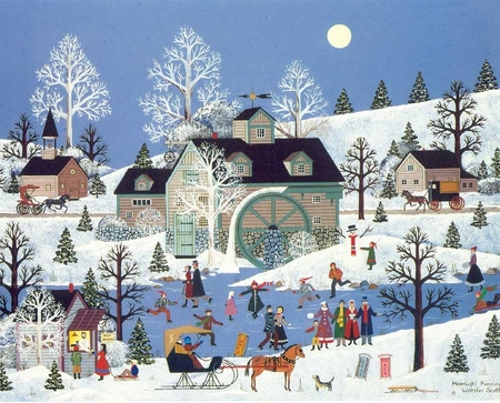 """Jane Wooster Scott Handsigned and Numbered Limited Edition Serigraph on Paper:""""MOONLIGHT FUNNING"""""""