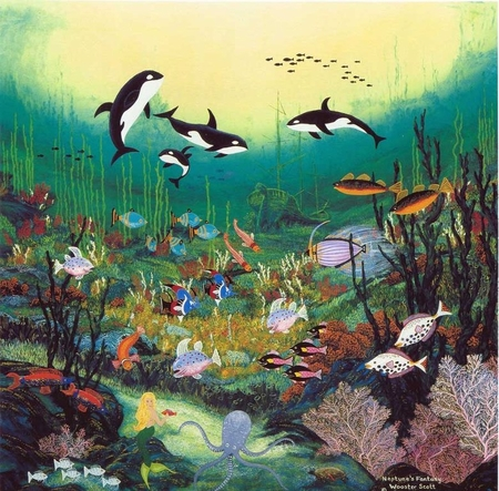 """Jane Wooster Scott Handsigned and Numbered Limited Edition Serigraph on Paper:""""NEPTUNE'S FANTASY"""""""