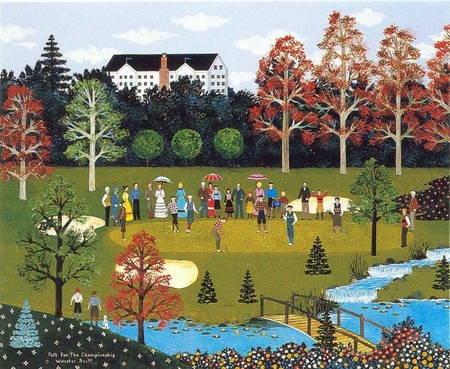 """Jane Wooster Scott Handsigned and Numbered Limited Edition Serigraph on Paper:""""PUTT FOR THE CHAMPIONSHIP - REMARQUE"""""""