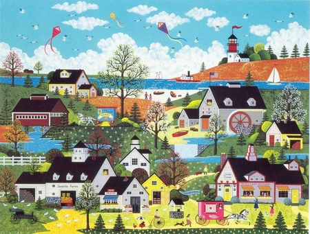 """Jane Wooster Scott Handsigned and Numbered Limited Edition Serigraph on Paper:""""SUNDAY IN NEW ENGLAND"""""""