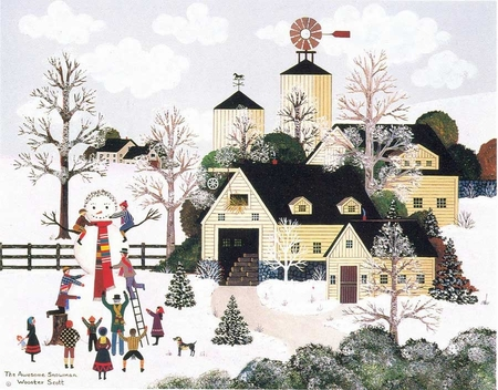 """Jane Wooster Scott Handsigned and Numbered Limited Edition Serigraph on Paper:""""THE AWESOME SNOWMAN"""""""