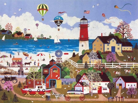 """Jane Wooster Scott Handsigned and Numbered Limited Edition Serigraph on Paper:""""THE CAPE MILFORD LIGHT"""""""