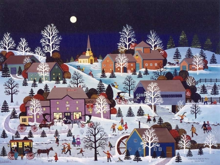 """Jane Wooster Scott Handsigned and Numbered Limited Edition Serigraph on Paper:""""WINTER'S EVE IN HOOT OWL HOLLOW"""""""