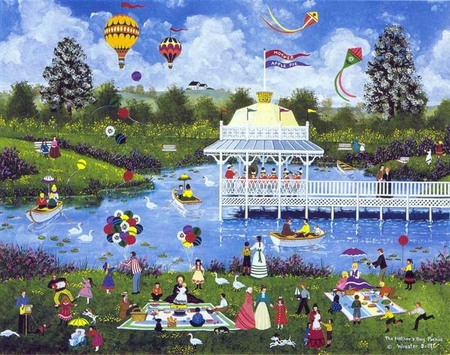 """Jane Wooster Scott Handsigned and Numbered Limited Edition Serigraph with Original Remarque:""""Mother's Day Parade"""""""