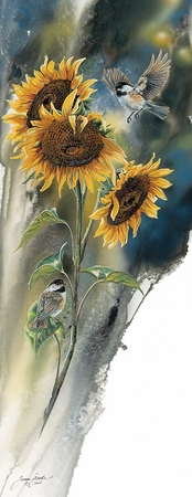 """Janene Grende Handsigned and Numbered Limited Edition Print:""""Golden Sun-Chickadees"""""""