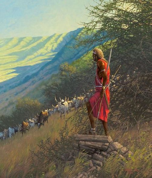 "Michael Sieve Hand Signed and Numbered Limited Edition Canvas Giclee:""Masai"""