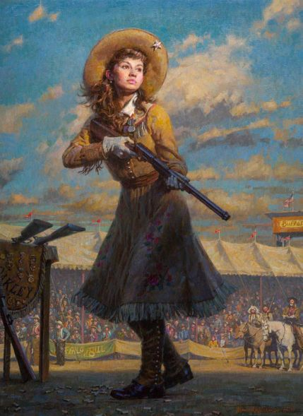 "Morgan Weistling Handsigned and Numbered Limited Edition Giclee on Paper:""Little Sure Shot, Annie Oakley"""