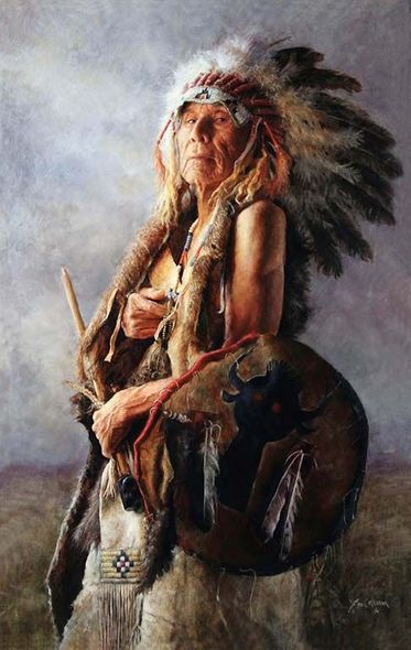 "John Coleman Hand Signed and Numbered Limited Edition Canvas Giclee:""Monarch of the Buffalo Nation"""