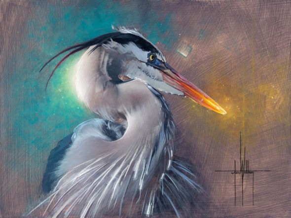 """Jess Wathen Framed Limited Edition Embellished Canvas Giclee:""""Eye of the Storm"""""""