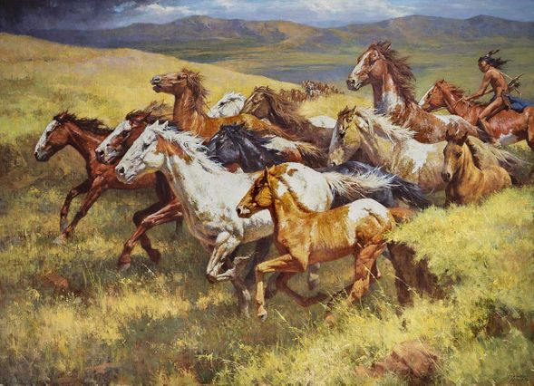 "Howard Terpning 48x66 Artist Proof Canvas Giclee:""Thunder of the Wild Mustangs"""