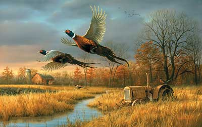 "Jim Hautman Handsigned and Numbered Limited Edition:""Back Forty-Pheasants"""