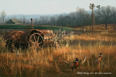 "Jim Hautman Handsigned and Numbered Limited Edition: ""Forgotten Forty-Pheasants Art Print"""
