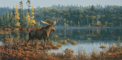 "Jim Hautman Limited Edition Print: ""Black Bay-Moose"""