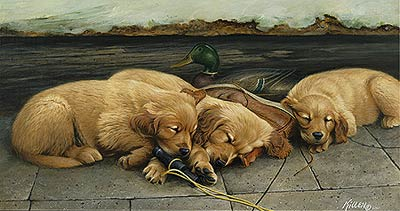 "Jim Killen Edition Print:""Golden Dreams - Retrievers"""