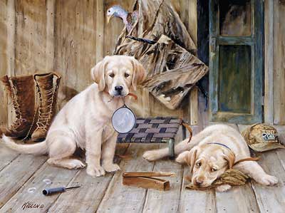 """Jim Killen Handsigned and Numbered Limited Edition Artist Proof Print:""""Breaktime-Yellow Labs """""""