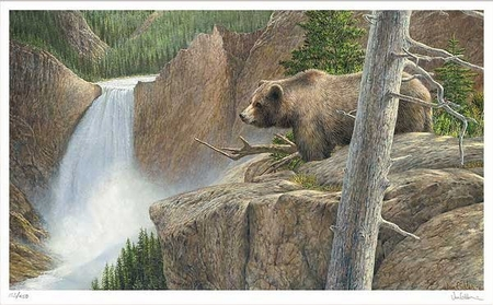 """Ron Van Gilder Hand Signed and Numbered Limited Edition Print: """"Vanage Point - Yellowstone"""""""