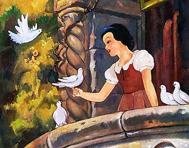 "Jim Salvati Handsigned and Numbered Limited Edition Canvas Giclee: ""Snow White on the Balcony"""