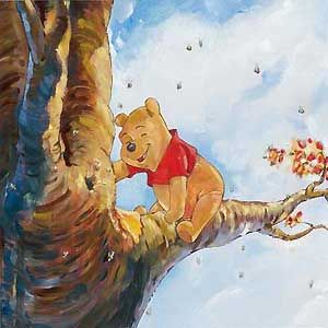 "Jim Salvati Handsigned and Numbered Limited Edition Embellished Canvas Giclee:""Winnie the Pooh - Out on a Limb"""