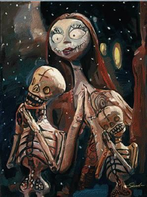 """Jim Salvati Handsigned and Numbered Limited Edition Giclee on Canvas:""""Nightmare Before Christmas - The Pumpkin Dance"""""""