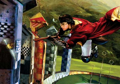 "Jim Salvati Harry Potter Canvas Giclee Artist Proof Co-Signed By Daniel Radcliffe:""Harry & The Golden Snitch"""