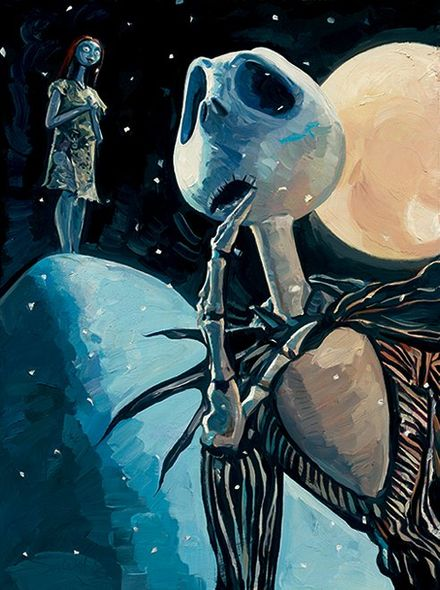 """Jim Salvati Limited Edition Giclee on Canvas: """"We're Simply Meant To Be (Nightmare Before Christmas )"""""""