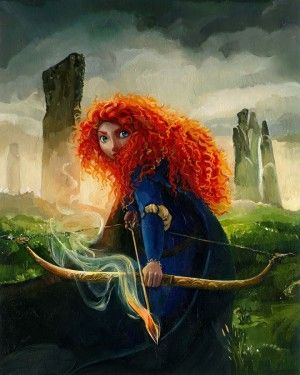"""Jim Salvati Signed and Numbered Giclée on Canvas: """"Brave Merida (Sm)"""""""