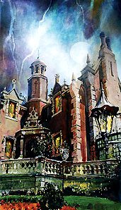 "Jim Salvati Signed and Numbered Hand-Embellished Giclée on Canvas: ""Walt Disney World - Haunted Mansion - Ghoulish Delight"""
