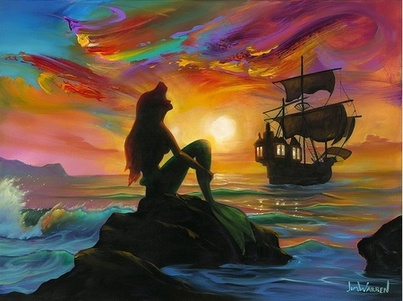 "Jim Warren Hand Signed and Numbered Limited Edition Embellished Canvas Giclee:""Waiting for the Ship to Come In"""