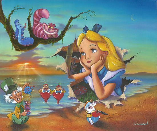 """Jim Warren Hand-Signed and Numbered Limited Edition Hand-Embellished Giclée on Canvas:""""Alice's Grand Entrance"""""""