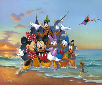 """Jim Warren Hand-Signed and Numbered Limited Edition Hand-Embellished Giclée on Canvas:""""Mickey and the Gang's Grand Entrance"""""""