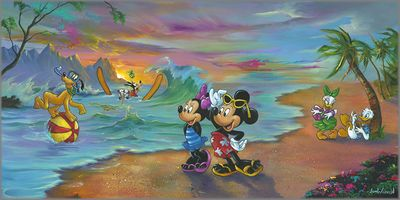 "Jim Warren Hand-Signed and Numbered Limited Edition Hand-Embellished Giclée on Canvas:""Mickey and the Gang's Hawaiian Vacation"""