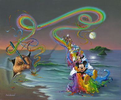 """Jim Warren Hand-Signed and Numbered Limited Edition Hand-Embellished Giclée on Canvas:""""Walt's Colorful Creations"""""""