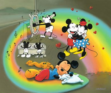 "Jim Warren Hand-Signed and Numbered Limited Edition Hand-Embellished Giclée on Canvas:""What Does Mickey Dream?"""