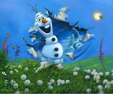 "Jim Warren Signed and Numbered Giclée on Canvas: ""Bursting Into Spring - Olaf"""