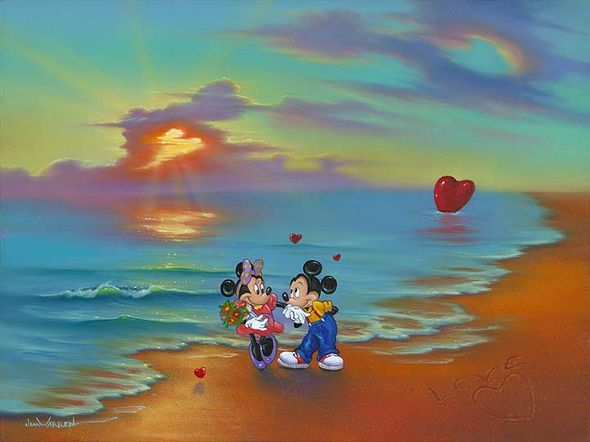 """Jim Warren Signed and Numbered Giclée on Canvas: """"Mickey and Minnie's Romantic Day"""""""
