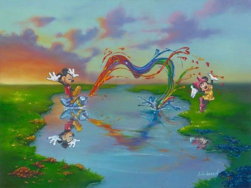 "Jim Warren Signed and Numbered Hand-Embellished Giclée on Canvas: ""A Message to Minnie"""