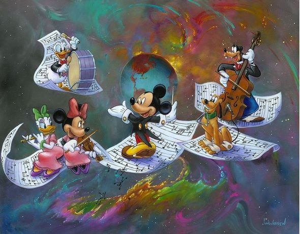 """Jim Warren Signed and Numbered Hand-Embellished Giclée on Canvas: """"A Universe of Music"""""""