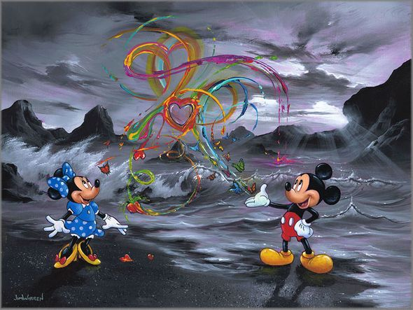 "Jim Warren Signed and Numbered Hand-Embellished Giclée on Canvas:""Colors of Love"""