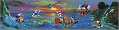"Jim Warren Signed and Numbered Hand-Embellished Giclée on Canvas: ""Swim in the Sea, A"""