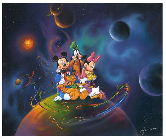 """Jim Warren Signed and Numbered Limited Edition Hand-Embellished Giclée on Canvas:""""Disney World"""""""