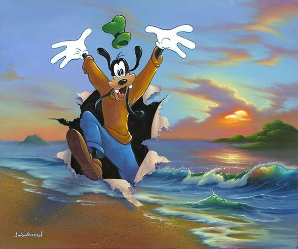 """Jim Warren Signed and Numbered Limited Edition Hand-Embellished Giclée on Canvas:""""Goofy's Grand Entrance"""""""