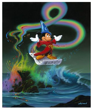 "Jim Warren Signed and Numbered Limited Edition Hand-Embellished Giclée on Canvas:""Mickey Making Magic"""