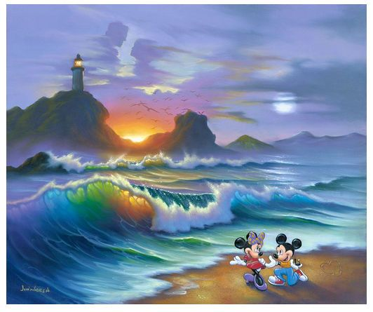 """Jim Warren Signed and Numbered Limited Edition Hand-Embellished Giclée on Canvas:""""Mickey Proposes to Minnie"""""""