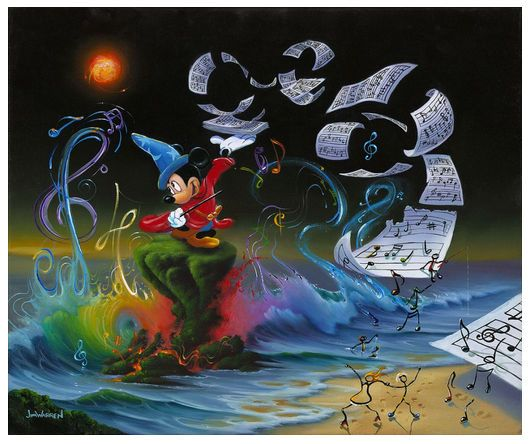 """Jim Warren Signed and Numbered Limited Edition Hand-Embellished Giclée on Canvas:""""Mickey the Composer"""""""
