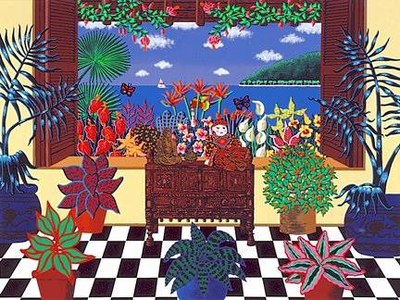 "Joanne Netting Limited Edition Serigraph on Paper: "" Tropical Conservatory """