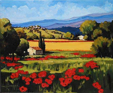 """Joanny Handsigned and Numbered Limited Edition Giclee on Canvas:""""Summer Poppies"""""""